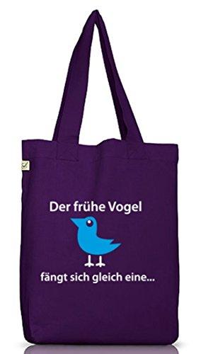 Shirtstreet24, Der frühe Vogel fängt sich gleich eine, Jutebeutel Stoff Tasche Earth Positive Dark Violet