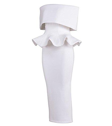 ELEGENCE-Z Europa Und Die Vereinigten Staaten High-End-Mode Anzug Kleid BH White Party Minikleid,M (Party Anzug White)
