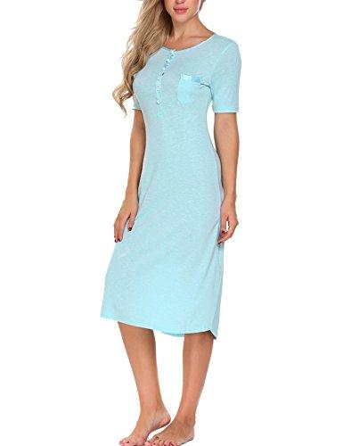 ADOME Damen Nachthemd Baumwolle kurzarm lang Schlafkleid pyjama still Schwarz/Grau/Blau 7092_Blau