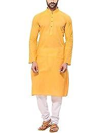 Ldhsati Men's Cotton Long Kurta (Yellow)
