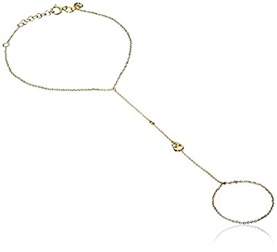 Shy by Sydney Evan Women's Yellow Gold Plated 925 Sterling Silver Diamond Bezel Skull Hand Chain Bracelet