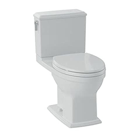 TOTO CST494CEMFRG#01 Contemporary/Modern Connelly Toilet 1.28 GPF/0.9 GPF Cotton Right Hand Trip Lever, Cotton White, 2-Piece
