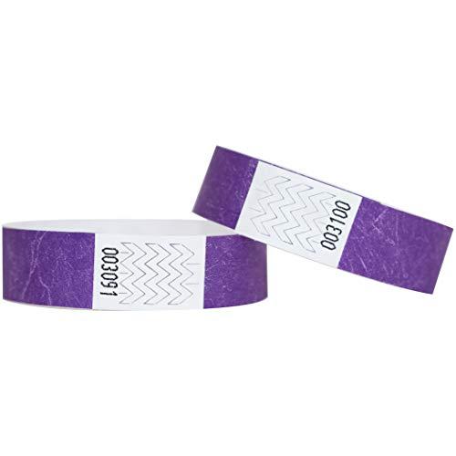 Confezione di 100braccialetti in carta Tyvek, 19mm, per eventi, festival,indistruttibili e personalizzabili,12colori disponibili 19mm Violet