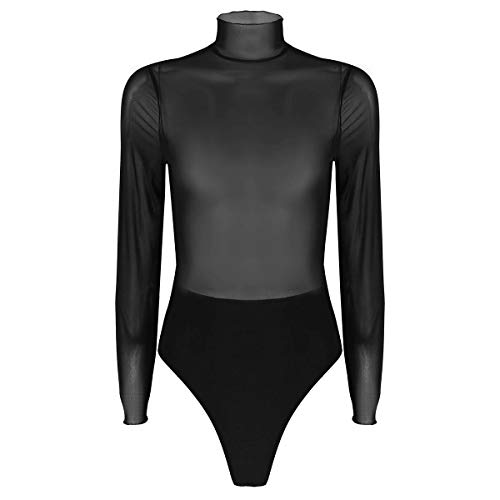 Tiaobug Damen Rollkragen Body Langarm Shirt Sexy Bodysuit Overall Jumpsuit Top Negligee Mesh Oberteil Transparente Unterhemd Nachtwäsche