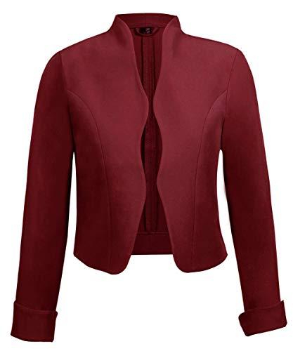 TrendiMax Damen Eleganter Blazer Jacke Kurz Bolero Jäckchen (Burgundry, ()