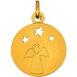 Premier Carat - Medaille de Bapteme - Medaille Ange avec 3 petites étoiles ajpourées en Or Jaune 9 carats diametre 18 mm - Possibilité de Graver le Verso - Cadeau de Bapteme ou de Communion idéal