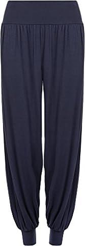 Ladies Plus Size Harem Trousers Womens Full Leggings Stretch Pants - Navy Blue 16/18