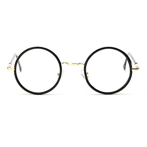 Meijunter Unisex Brille Runde Brille Retro-Ebenenspiegel Brillenge für Männer und Frauen Rahmen