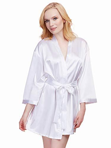 Kostüm Provokative - Dreamgirl Damen Satin Charmeuse Bride Robe with Adjustable Front Tie Closure Dessous, weiß, Mittel