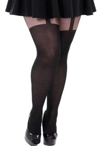 Pamela Mann Plain Stripe Strumpfhose im Straps Look Black XXXLarge -
