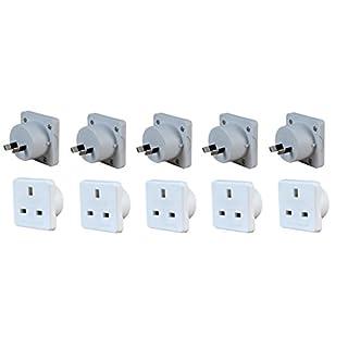 Invero® 5x Pack of UK to Australia Australian New Zealand Tourist Travel Plug Power Mains Adaptor - White