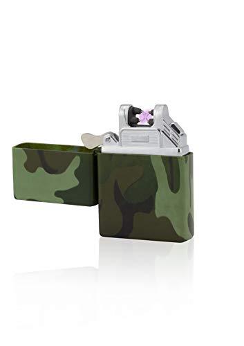 TESLA Lighter T03 Lichtbogen-Feuerzeug, elektronisches USB Feuerzeug, Double-Arc Lighter, wiederaufladbar, Camouflage/Flecktarn