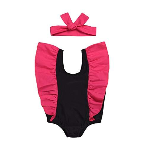 Lucky Mall Mädchen Volltonfarbe Badeanzug UV-Schutz Kinder Zweiteiliger Bikini Einteiliger Schwimmbekleidung Jungen Strandmode Farbdruck Bademode Top+Badehose+Badekappe Gesetzt