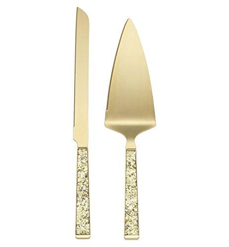 Einfach Sparkling Gold Kuchen Messer und Kuchen Server Dessert Set, vergoldetes Metall Modern Gold ()