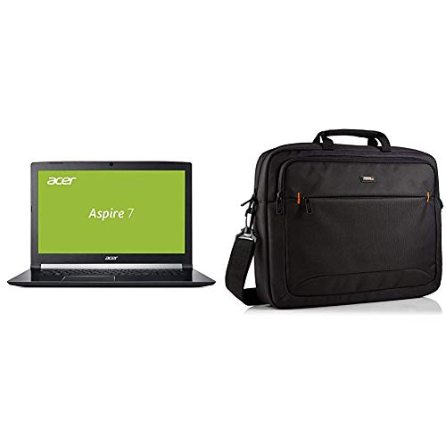 Acer Aspire 7 43,9 cm (17,3 Zoll Full-HD IPS matt) Notebook (Intel Core i7-8750H, 16 GB RAM, 256 GB PCIe SSD + 1000 GB HDD, GeForce GTX 1060) schwarz & AmazonBasics NC1406118R1 Laptop-Tasche (Windows 7 Nvidia Laptop)
