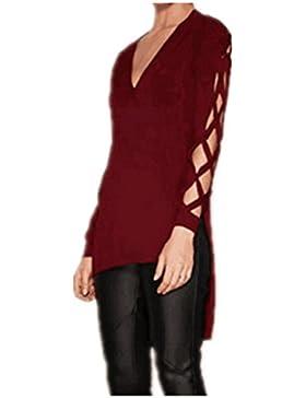 Fanessy Mujer Camiseta T-Shirt Mujer Verano T-Shirt Camiseta con Mangas Largas de Color Sólido Camiseta Mujer...