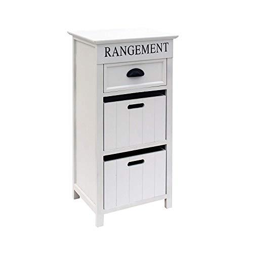 Mobili Rebecca® Meuble de Rangement 3 Tiroirs Bois Blanc Design Classique Salle de Bain Salon Decor (Cod. RE6128)