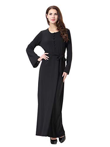 XDXART Frauen muslimischen Roben islamischen Abaya Maxi-Kleid Langarm Langen Mantel Perle Taste Gürtel marokkanischen Kaftan Kaftan Kleid (Black, L) (Marokkanischen Kaftan-kleider Für Frauen)
