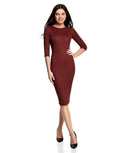 oodji Ultra Damen Mittellanges Geripptes Kleid, Rot, DE 42 / EU 44 / (Komplette Outfits)