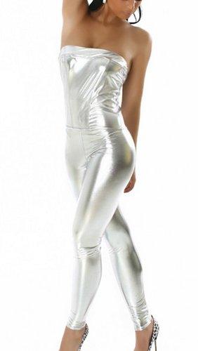 Damen Overall Bandeau Leder-Optik Wet-look Hausanzug Jumpsuit Bodysuit Einteiler Lang Trendy Hosenanzug 34 bis 36 Silber (Jobs Im Frühjahr)