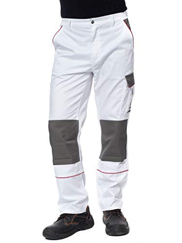 DINOZAVR Herren Arbeitshose Bundhose/Cargohose mit Multifunktions- und Kniepolstertaschen - strapazierfähig - Weiß EU50