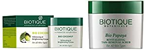 Biotique Bio Coconut Whitening And Brightening Cream, 50g and Biotique Bio Papaya Revitalizing Tan Removal Scrub for All Skin Types, 75g