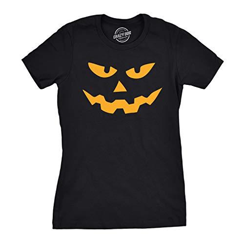 Crazy Dog Tshirts - Womens Triangle Nose Pumpkin Face Funny Fall Halloween Spooky T Shirt (Black) XL - Damen - XL