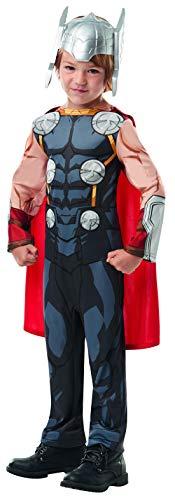 Halloweenia - Jungen Kinder Thor Classic Kostüm aus Avengers Assemble mit Einteiler, Umhang und Helm perfekt für Karneval, Fasching und Fastnacht, 134-140, - Thor Avengers Classic Kind Kostüm