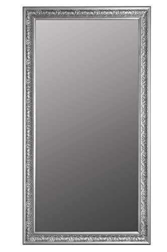 elbmöbel Wandspiegel Spiegel Antik Stil Barock mit Facettenschliff - XL Ankleidespiegel Ganzkörperspiegel Garderobenspiegel Holzrahmen, Farbe:Silber, Größe:132 x 72 cm
