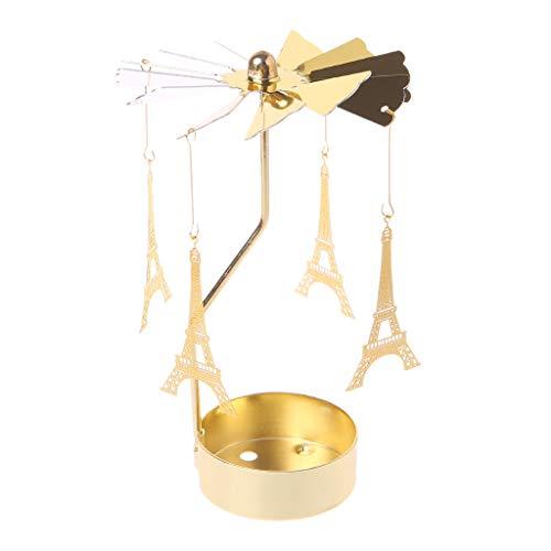 DAchun11 Drehkarussell Teelichthalter Kerzenhalter Ständer Licht Hochzeit Party Weihnachten Dekoration, Eisen, Gold, TypeV: Eiffel Tower