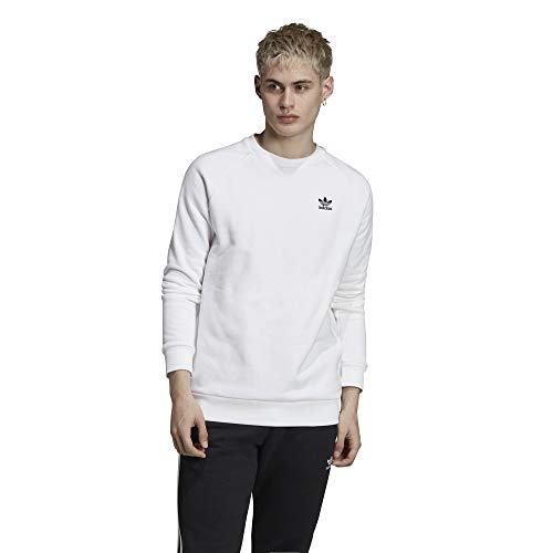 adidas Herren Essential Crew Sweatshirt, White/Black, L Big Logo Crewneck Sweatshirt