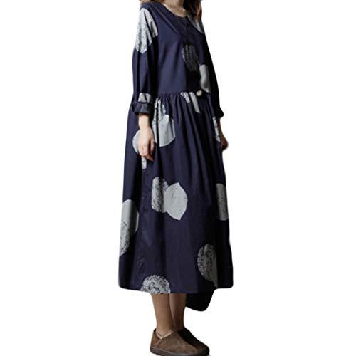 NPRADLA Lange Kleid Lose Kleider Damen Langarm Frauen Große Größe Polka Dot Rundkragen Baumwolle Und Leinen Literatur Midi -