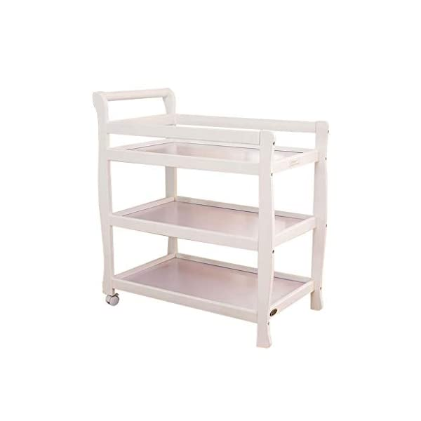YRR Changing Table, Three Layers Solid Wood Baby Nursing Desk Shower Stand Massage Table, Multi Open Storage Nursery Changing Table for Infants Or Babies (Color : White)  ★Made of rugged material, safe and sturdy construction, and quick and easy assembly design, it is also easy to wipe and clean, foldable, easy to carry, and can be deployed in seconds or indoors. Keep your baby safe ★Outside diameter size: 90*51*105, Table height: 81cm,Interlamellar height: 28cm,Table size: 76*46 cm,Nursing countertop thickness: 8 cm,Storage surface thickness: 4.5 cm,Applicable baby age: 0~3 years old,Can carry weight: less than 30 kg. ★Caster design, equipped with special fixing screws and spanners, easy installation, one-key locking, safe and convenient. 1