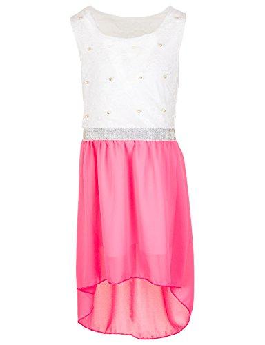 Fashionteam24 Festliches Mädchen Sommer Kleid Perlen Hochzeit Blumenmädchen Kommunion Freizeit M432npi Neon Pink 6/110 / 116