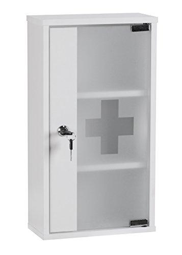 Wohnling WL1.346 - Armadietto per medicinali e pronto soccorso, 48 x 26 x 12 cm, colore: bianco
