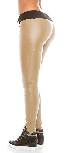KouCla Lederlook Hose mit Stoffbund - Skinny Lederoptik Pants Leggings Schwarz Beige Gr. S - XL Beige