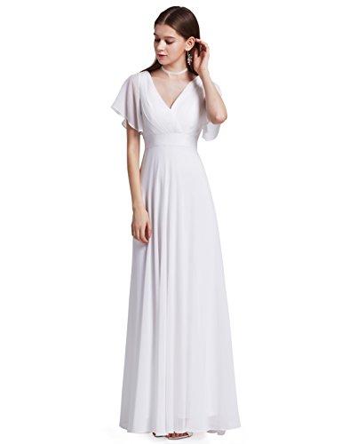 Ever Pretty Damen V-Ausschnitt Lange Abendkleider Festkleider Größe 36 Weiß