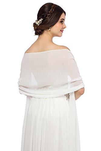 JAEDEN Chiffon Stola Schal für Brautkleider Abendkleider Alltagskleidung in verschiedenen Farben 45cmx220cm White