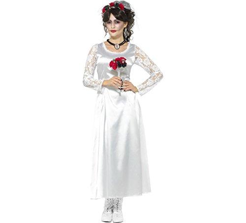 Smiffys Damen Tag der Toten Braut Kostüm, Kleid, Strauß und Haarband, Größe: 36-38, - Eine Tote Braut Kostüm