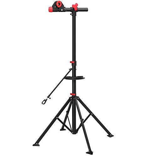 SONGMICS Schwerlast Fahrradmontageständer für Profis, Teleskopständer für Fahrräder, Montageständer mit magnetischer Werkzeugschale, Werkstatt, Garage, tragbar, schwarz-rot SBR02B