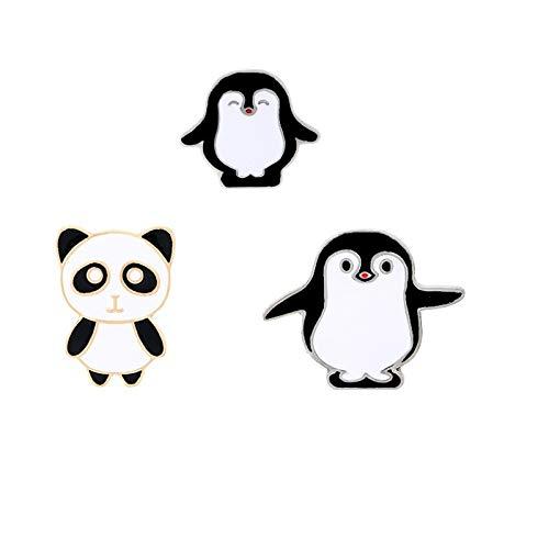 Mzl Panda-Pinguin Paar Set Exquisite Schwarze und weiße Brosche Abzeichen kleines Geschenk