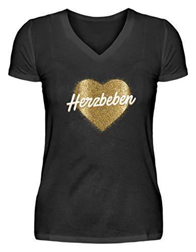 Shirtee Herzbeben - Goldenes Herz - Helene - V-Neck Damenshirt -M-Schwarz