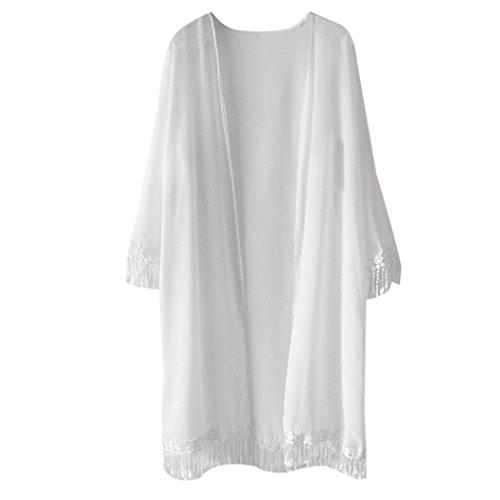 Resplend Frau Chiffon langer Mantel Damen Kurzarm Cardigan Mit Fransen Kurzarm Top Schal Kimono (Weiß) (Kurzarm-kimono)