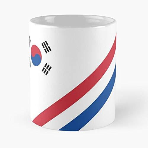 Korea Soccer Jersey Shirt Stripes Retro Classic Mug -11 Oz Coffee - Funny Sophisticated Design Great...