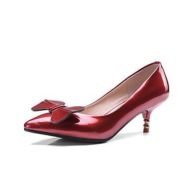 Talloni delle donne Primavera Estate Autunno Inverno Altro PU Patent Leather ufficio & carriera di feste ed abito da sera tacco a spillo BowknotBlack Red Silver