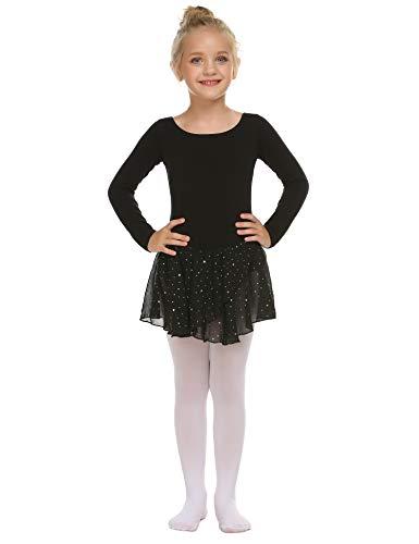 trudge Mädchen Ballettkleidung Ballettkleid Kinder Langarm Baumwolle Balletttrikot Ballettanzug Tanzkleid Tanzbody mit Rock Tütü -