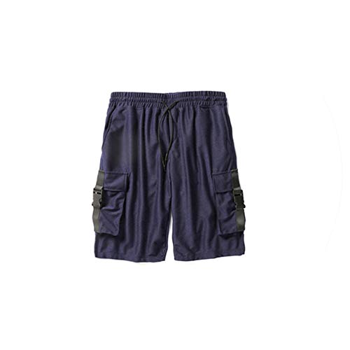 Summer New Drawstring Men hip hop Shorts Gray & Black & Blue Drop Crotch Men's Harem Shorts Rap and roll Fashion Justin Bieber,Navy Blue,L -