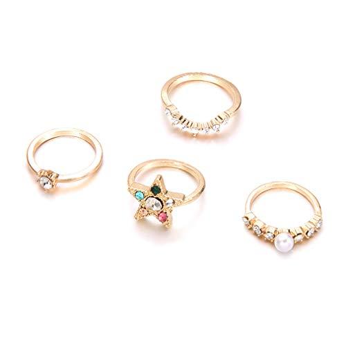Yinew Shiny Strass Ringe Perle Kristall Stern Fingerknöchel Ringe Frauen Hochzeit Brautschmuck Geschenk 4 Teile/satz