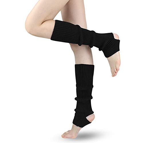 LADES DIRERCT Damen Stulpen - Stricken Beinstulpen Socken Mit Fersenloch Gestrickt Beinwärmer Ballett Yoga Stulpen Legwarmer Strümpfe 1980er Jahre Party Kleid (Schwarz)