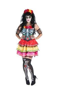 Tag der Toten Senorita Day of The Dead Skelettkostüm Damen Kostüm